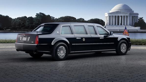 Auch von hinter sehr präsidial, die Sonderanfertigung für den Präsidenten (Foto: Cadillac)