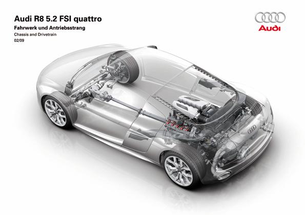Fahrwerk und Antriebsstrang des neuen R8 5.2 FSI quattro (Foto: Audi)