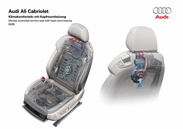 Klimakomfortsitz mit Kopfraumheizung im neuen A5 (Foto: Audi)