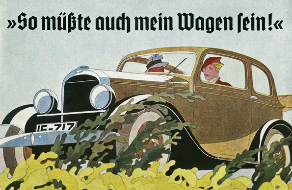 Die Grafiken, die Bernd Reuters in den dreißiger Jahren für Opel anfertigte, waren Vorbild für die Werbe-Ästhetik ihrer Zeit. Derzeit ist eine Ausstellung mit Werken des Berliner Künstlers im Rüsselsheimer Opel-Forum zu sehen (Bild: opel)