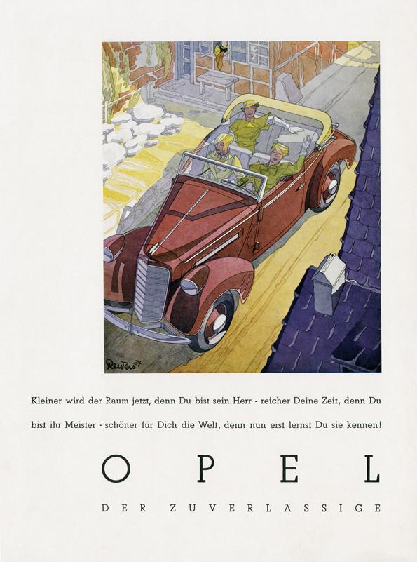 Opel Werbung von 1934 - gezeichnet von Bernd Reuters (Bild: Opel)