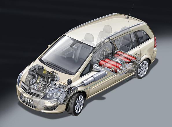 Anordnung der Erdgastanks im Zafira ecoFLEX (Abbildung: Opel)