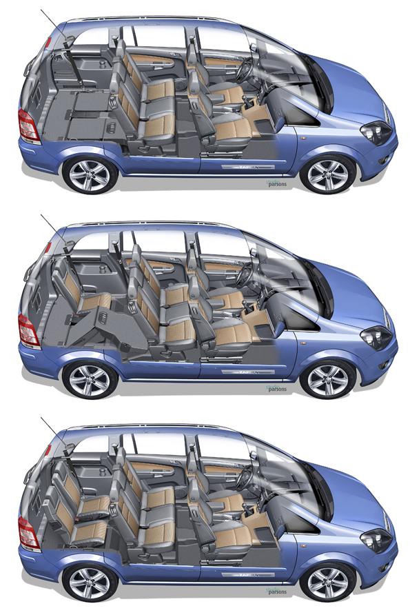 Der Innenraum des Zafira ecoFLEX lässt sich trotz der Unterflur-Erdgastanks variabel nutzen (Grafik: Opel)