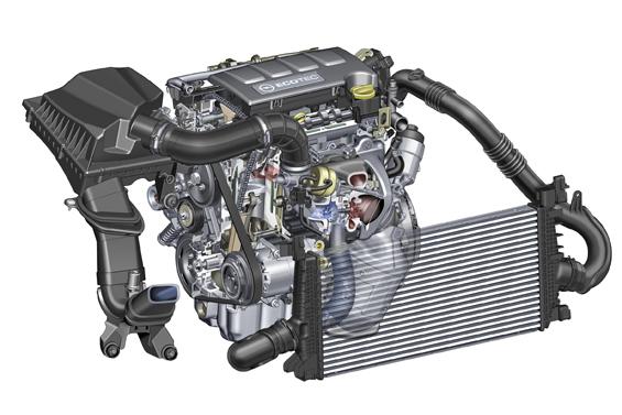 Kleiner Hubraum, hohe Leistung, viel Drehmoment: Zur Frankfurter Internationalen Automobilausstellung präsentiert Opel den 1.4-Liter-Turbo-Benzinmotor im neuen Astra. Das neu entwickelte Triebwerk leistet 103 kW/140 PS und verbraucht nur 5,9 Liter Sprit pro 100 Kilometer. (Bild: Opel)