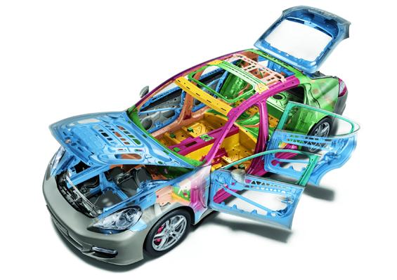 Für niedriges Gewicht sorgt die Leichtbaukarosserie mit intelligentem Werkstoffmix (Grafik: Porsche)