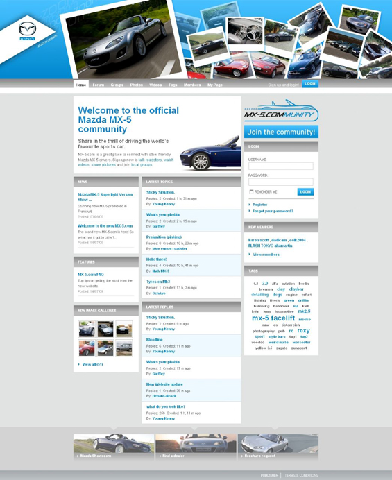 Die Internetseite MX-5.com nach dem Relaunch (Screenshot: Mazda)