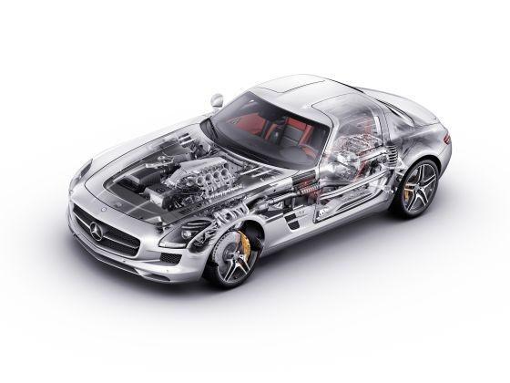 Der SLS fasziniert mit seinem einzigartigen Technologie-Package: Aluminium-Spaceframe-Karosserie mit Flügeltüren, AMG 6,3-Liter-V8-Frontmittelmotor mit 420 kW/571 PS Höchstleistung, 650 Newtonmeter Drehmoment, Siebengang-Doppelkupplungsgetriebe in Transaxle-Anordnung, Torque-Tube mit Carbon-Gelenkwelle. (Grafik: Daimler)