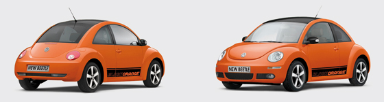 Version des new Beetle Sondermodells in orange (Foto: Volkswagen)
