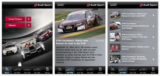 Alle Audi-Infos zu den Sportserien, an denen Audi teilnimmt, gibt es jetzt auch auf dem iPhone und dem iPod Touch.