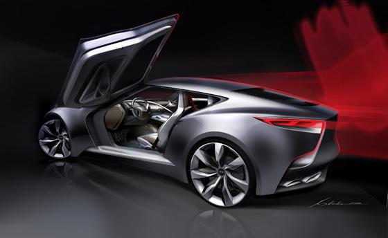 Flügeltüren und 3,3 Liter-Turbo-Direkteinspritzer im Hyundai HND-9. Foto: Hyundai.